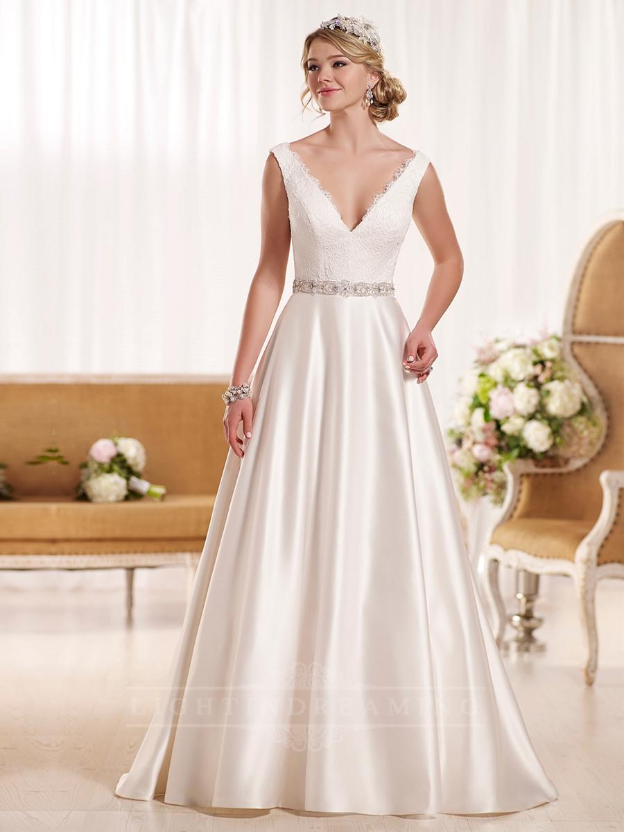 Mariage - Luxury A-line Plunging Neckline Wedding Dress with V-back - LightIndreaming.com