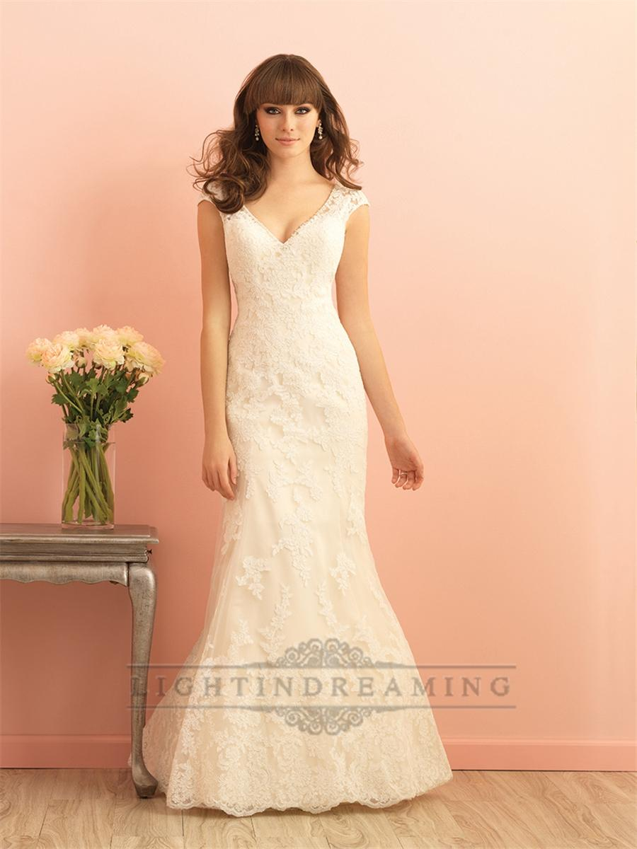 Cap sleeves v neckline mermaid lace wedding dress with for T back wedding dress