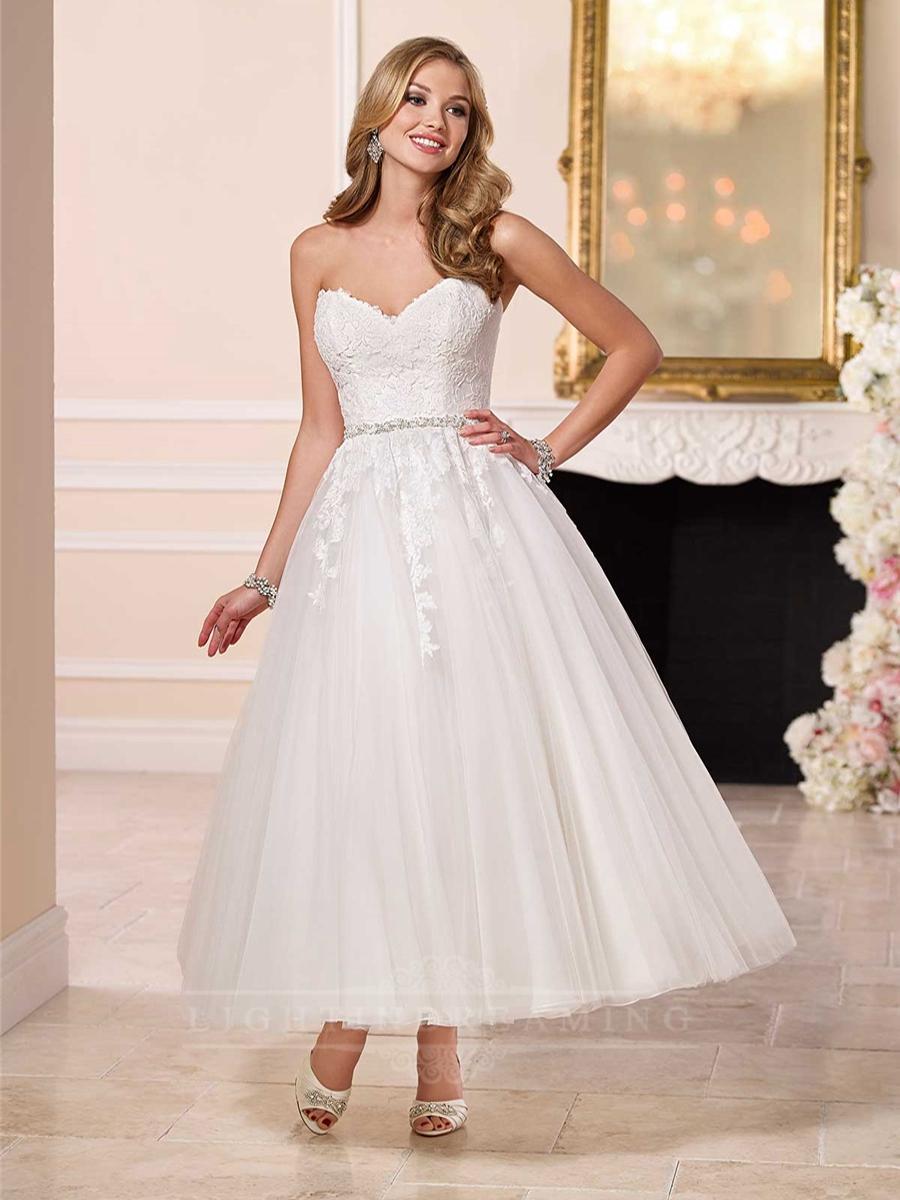 Sweetheart A Line Tea Length Wedding Dress Lightindreaming