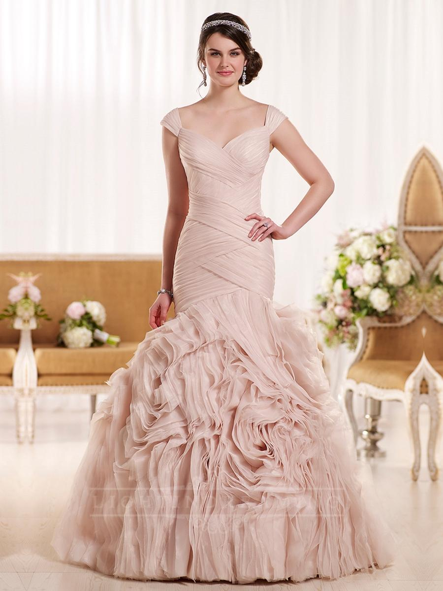 Wedding - Straps Sweetheart Neckline Pleated Bodice Bold Wedding Dress - LightIndreaming.com
