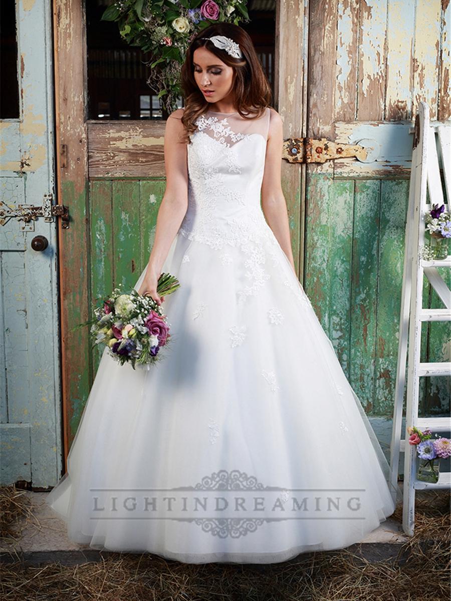 Wedding - Stunning Illusion Neckline & Back A-line Lace Over Wedding Dress - LightIndreaming.com