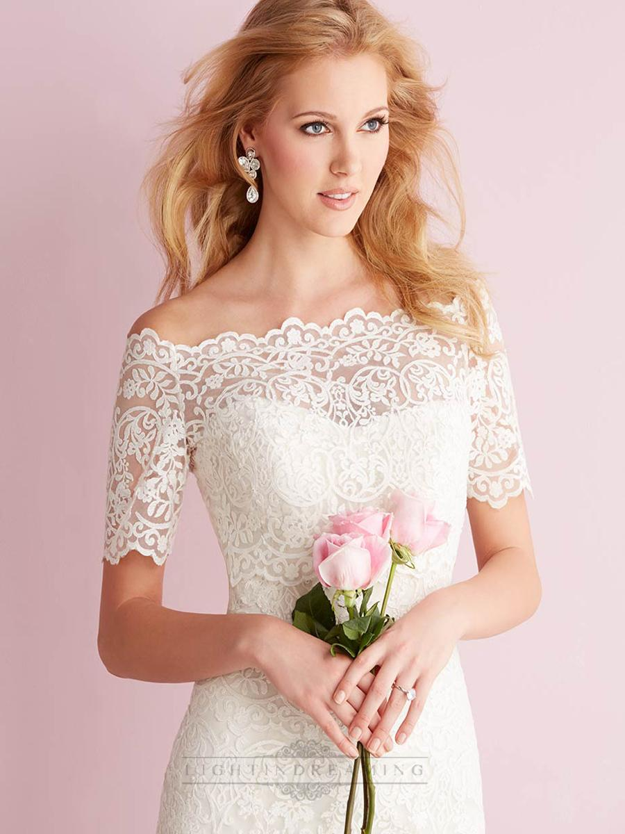 Mariage - Elegant Off-the-shoulder Short Sleeves Mermaid Lace Wedding Dresses - LightIndreaming.com