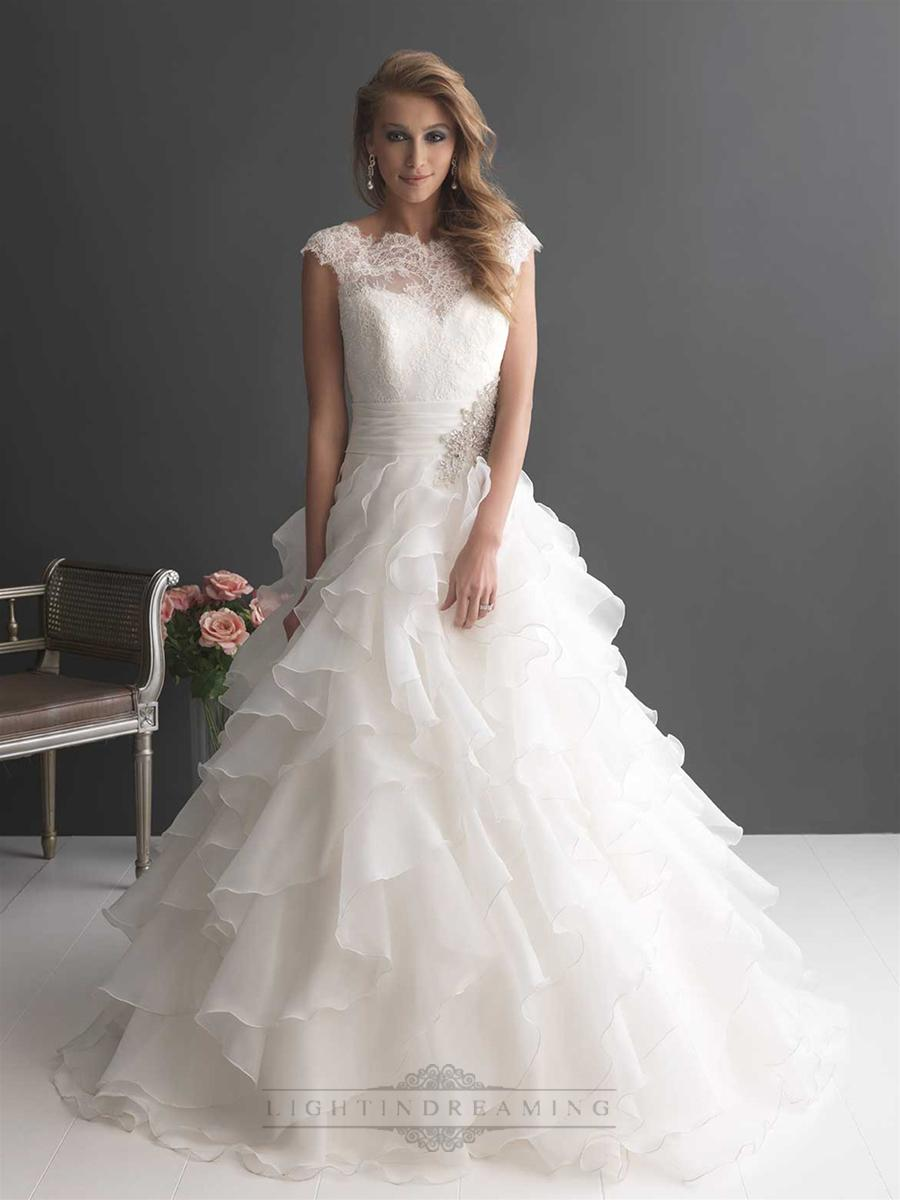Cap Sleeves Ruffled Layered Ball Gown Wedding Dresses With Ruched ...