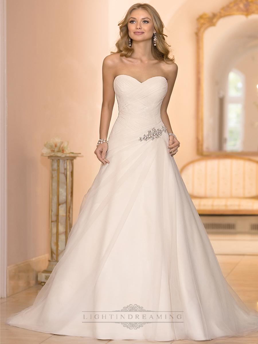 Свадьба - Sweetheart Cross Asymmetrical Ruched Bodcie A-line Wedding Dresses - LightIndreaming.com