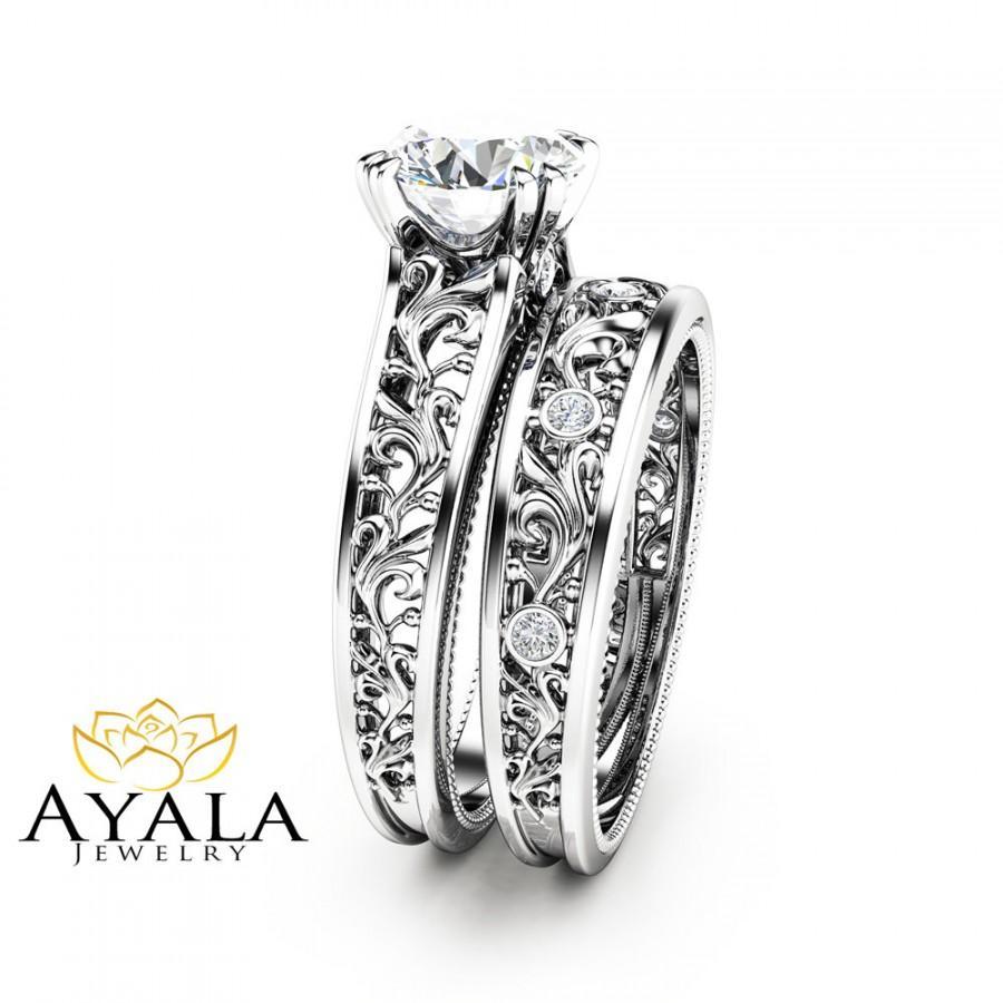unique diamond bridal set 14k white gold engagement rings art deco styled bridal ring set filigree rings - Filigree Wedding Rings