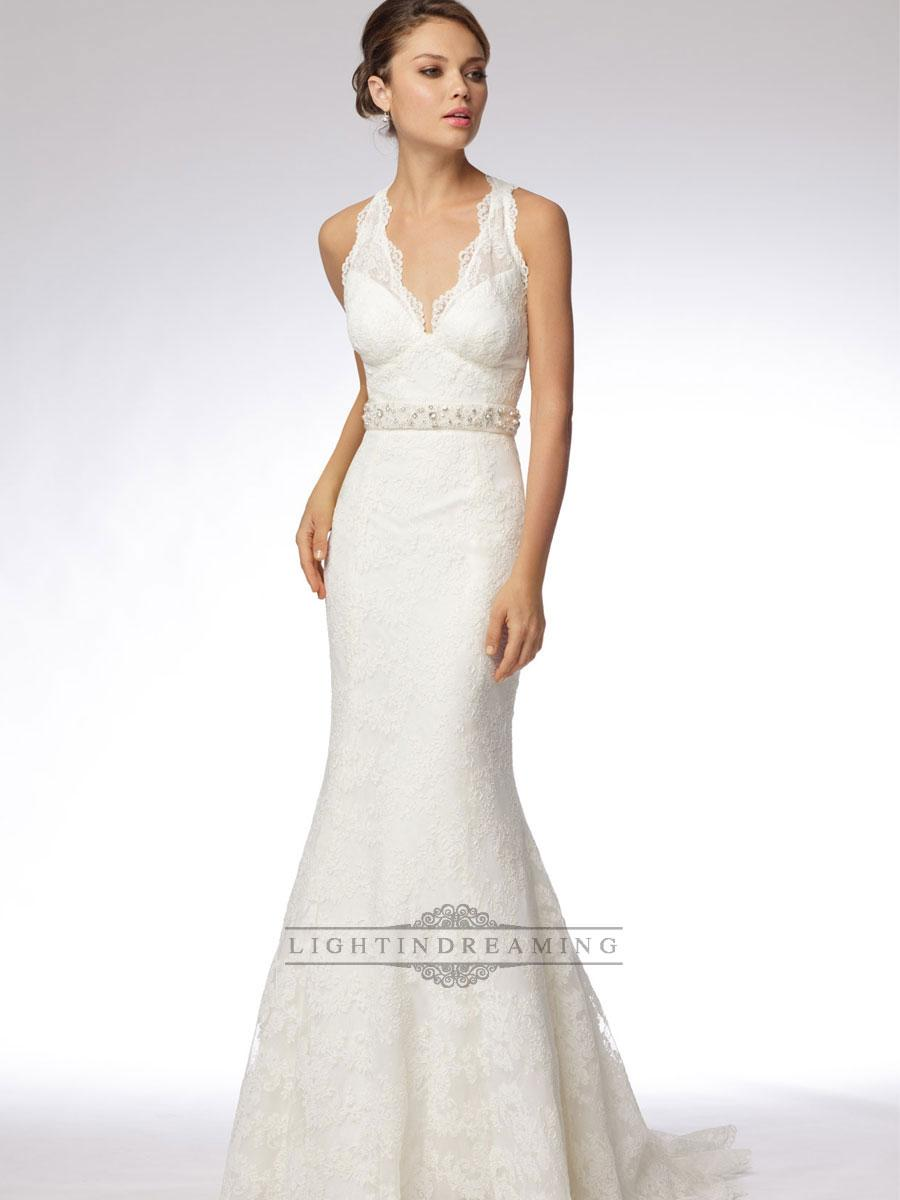 Trumpet embroidered lace halter v neck wedding dresses for V back wedding dress