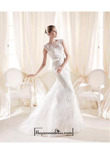 زفاف - Alluring Tulle & Sequins Mesh & Satin Illusion High Neckline Natural Waistline Mermaid Wedding Dress