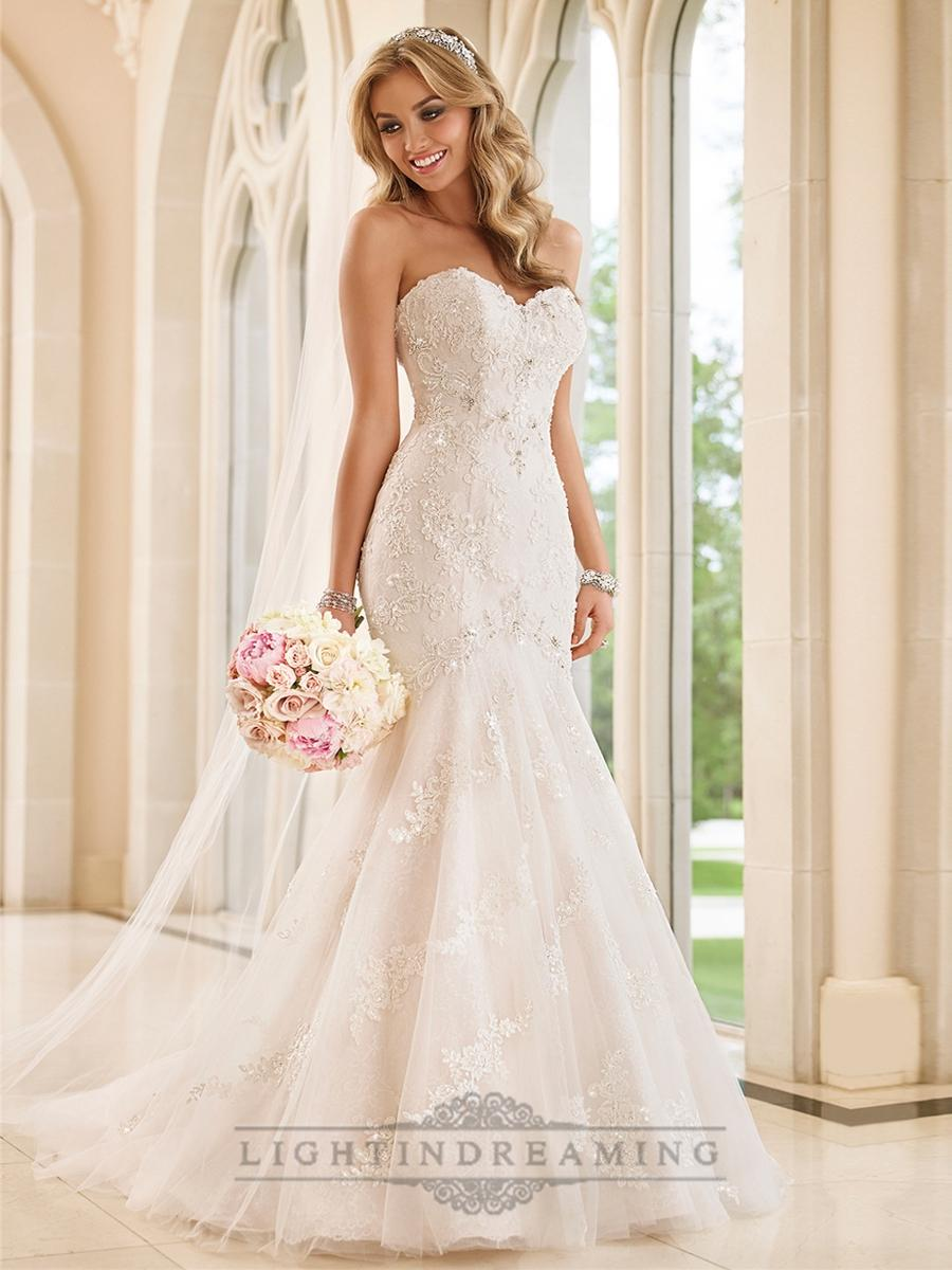 Strapless Sweetheart Fit And Flare Crystals Beading Lace Wedding Dresses Lightindreaming