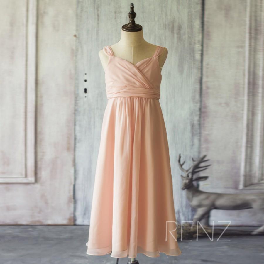 2017 Peach Junior Bridesmaid Dress Spaghetti Strap Flower Maxi Long Tail Floor Length Fk307 Renzrags