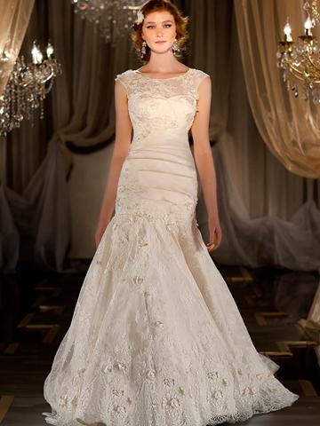 Mariage - Fit Flare Sweetheart Appliques Pleated Wedding Dress with Illusion Bateau Embroidered Lace Jacket