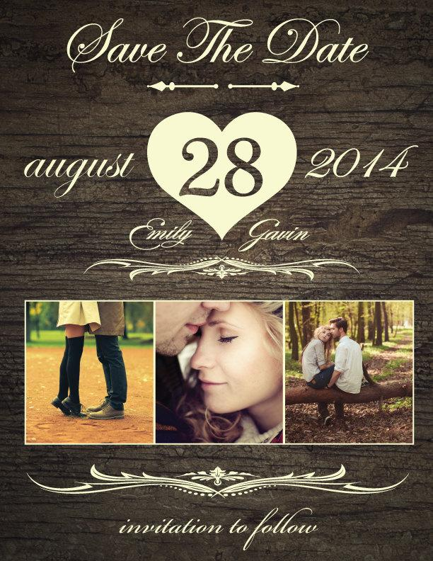 Wedding - Save The Date Magnet, Card or Postcard . Rustic Heart