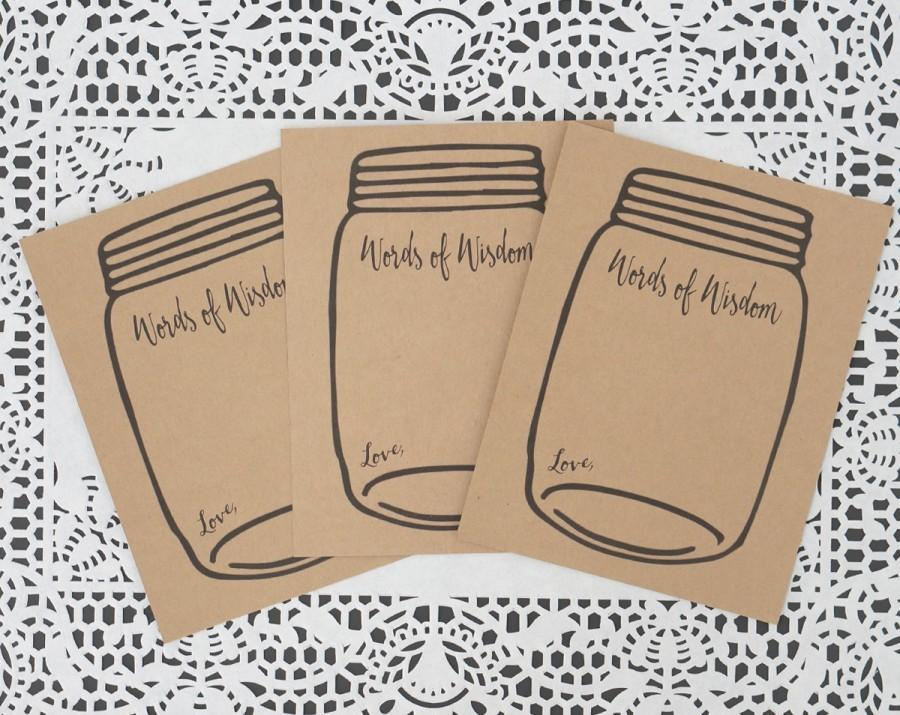 Words Of Wisdom Cards Mason Jar Wedding Advice Card Kraft Brown Baby Or Bridal Shower Notes Marriage
