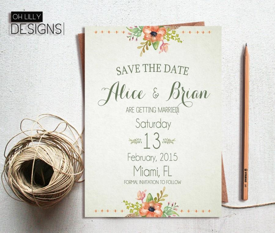 Rustic Save The Date Printable Save The Date Floral Save The – Wedding Invitations and Save the Dates