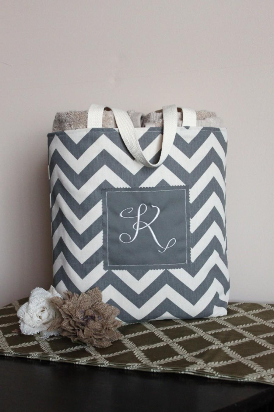 Monogram chevron tote bag in duck cloth canvas personalized monogram chevron tote bag in duck cloth canvas personalized fully lined bridesmaid babybridal shower wedding beach gift bag negle Images
