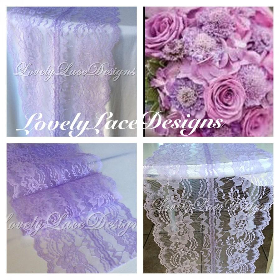 Mariage - WEDDING DECOR /Lavender Lace Table Runner, 5ft-10ft long x 8in Wide/ Lace Overlay/ tabletop decor/Centerpiece/Wedding runner/party decor