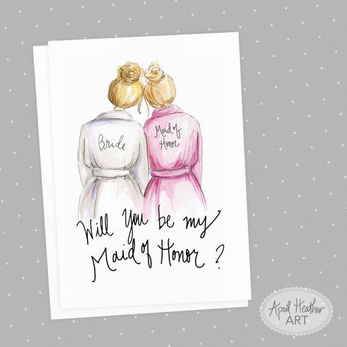 Wedding - Maid of Honor PDF Download Blonde Hair Bride, Blonde Will you be by Maid of Honor PDF printable card