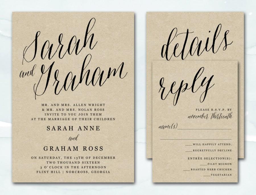 Printable Wedding Invitation, Rustic Kraft Wedding Invitation ...