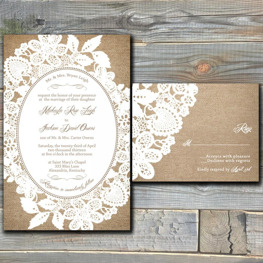 Burlap And Lace Wedding Invitation Suite With RSVP Cards - Printable ...