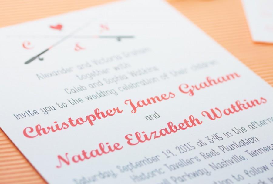 Mariage - Gone Fishing Wedding Invitation and RSVP Postcard - Modern Design - Printable or Printed - Envelopes Included - Fishing Poles - Hooks - Love