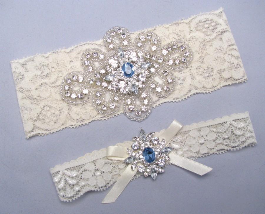 Свадьба - Something Blue Wedding Garter, Custom Size Garter, Crystal Rhinestone Silver Bridal Garter, Stretch Lace Garter, Ivory White Bridal Garter