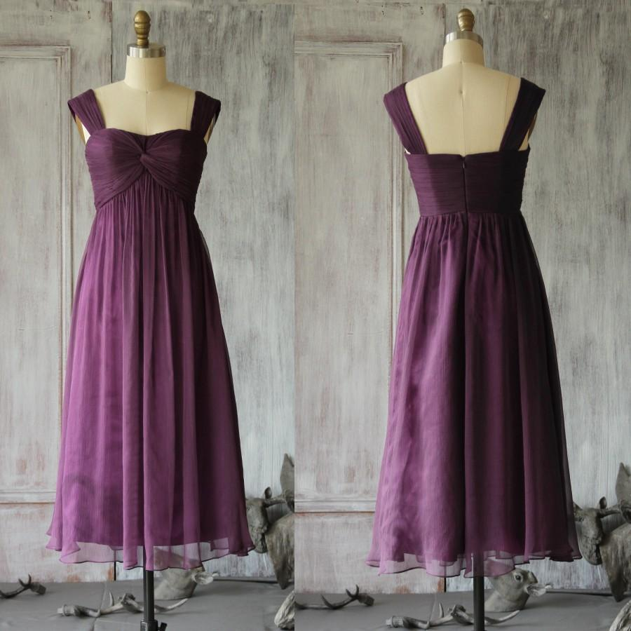 Свадьба - 2015 Purple Pleated Ruffled Chiffon Bridesmaid dress, Double Straps Wedding dress, Sweetheart Party dress, Formal dress tea length (F048)