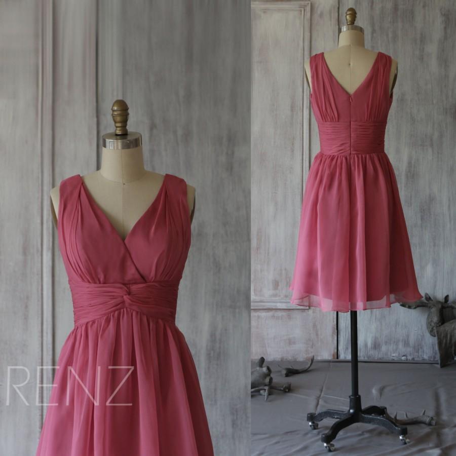 Wedding - 2015 Hot Pink Bridesmaid dress, Short Wedding dress, A line Womens Formal dress, Prom dress, V neck Party dress Chiffon tea length (F032)