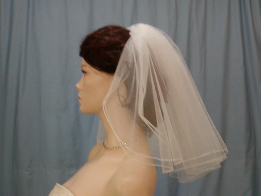 Hochzeit - Wedding Bridal Veil 2 Tier Madonna Flyaway veil Shoulder Length Full Gathered style 18 inches long