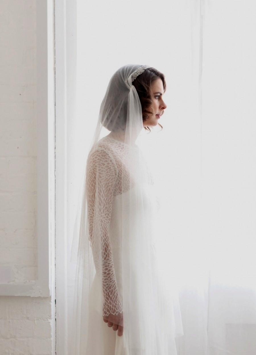 Hochzeit - English Net Juliet Cap Veil with Vintage style tiara -1930s Vintage Wedding Headpiece and Veil - Antique style Headpiece and Bridal Veil  UK