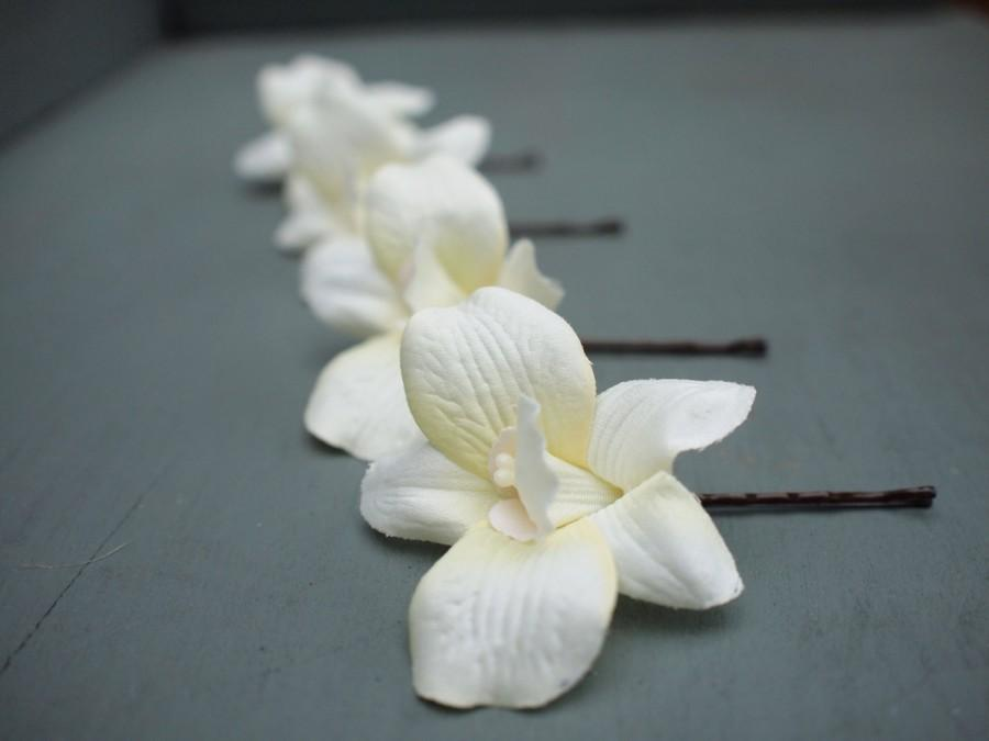 Mariage - Set of 4 Beautiful Ivory Silk Dendrobium Orchid Bridal Hair Flowers Wedding