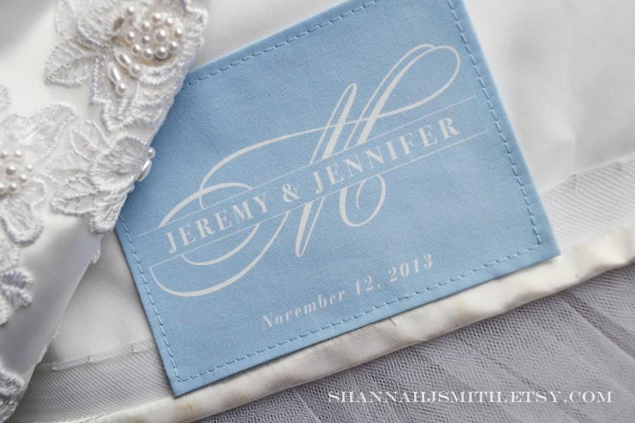 Something Blue Monogrammed Wedding Dress Label Personalized