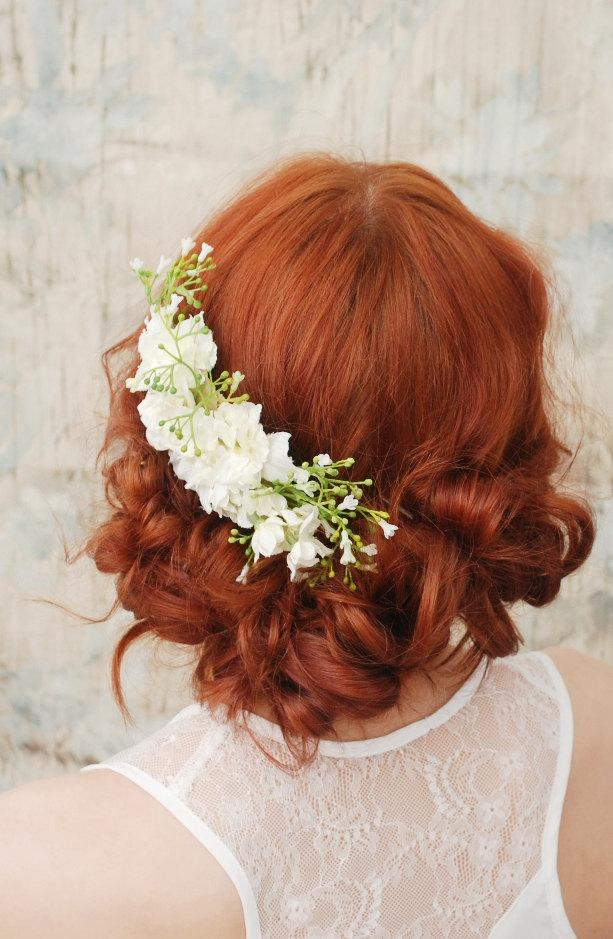 Свадьба - Wedding headpiece, white flower comb, shabby chic bridal comb, flower hair comb - Elora - Hair accessories by Gardens of Whimsy on Etsy