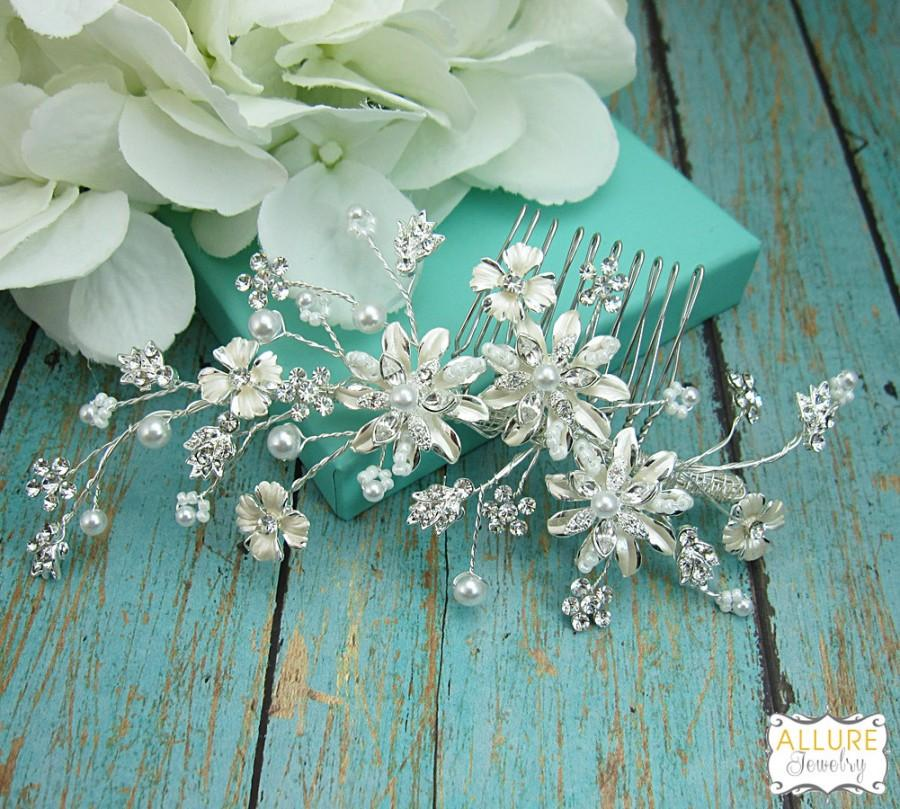 Mariage - Ivory Bridal Comb, Bridal Comb Headpiece, Crystal Bridal Comb, Flower Rhinestone Wedding Comb, Wedding Hair Piece Bridal Comb 209167938