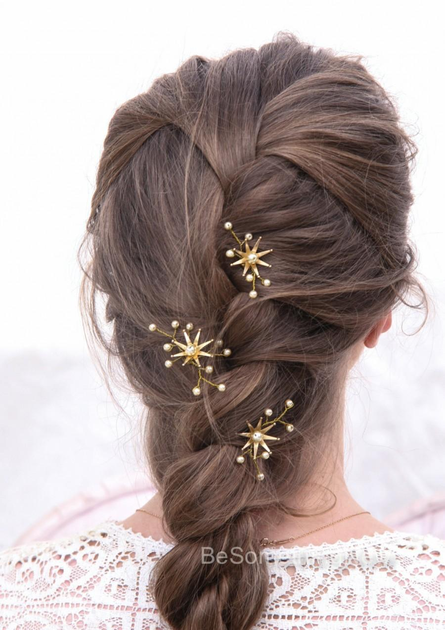 Mariage - Wedding Hair Pins Star Flower and Champagne Pearl Bridal Hair Pin Set, Brass Flower Bobbie Pins Hair Jewelry Beaded Headpiece
