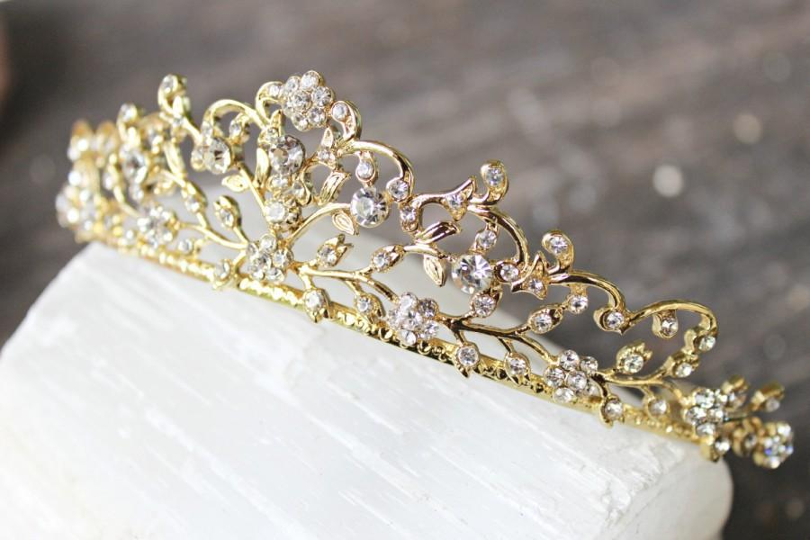 Mariage - Bridal Tiara Gold Tiara - CERES, Swarovski Bridal Tiara, Crystal Wedding Crown, Rhinestone Tiara, Wedding Tiara, Diamante Crown