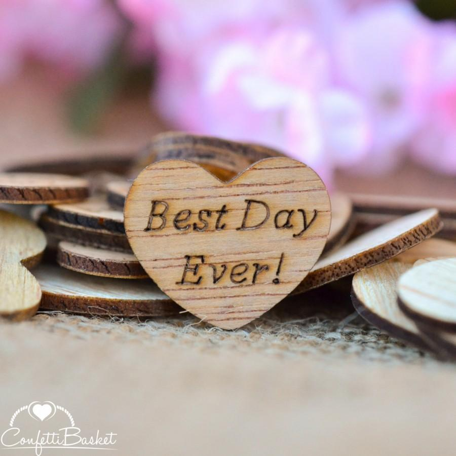 "Hochzeit - 100 Best Day Ever! Wooden Hearts 1"" - Rustic Wedding Decor - Table Confetti - Wedding Invitations"