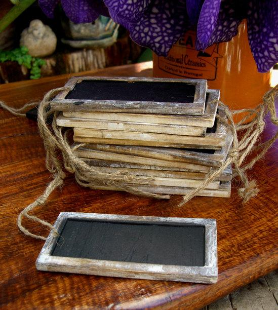 Hochzeit - Rustic chalkboard tags, 12 Pieces, Two Sided, Wood Frame
