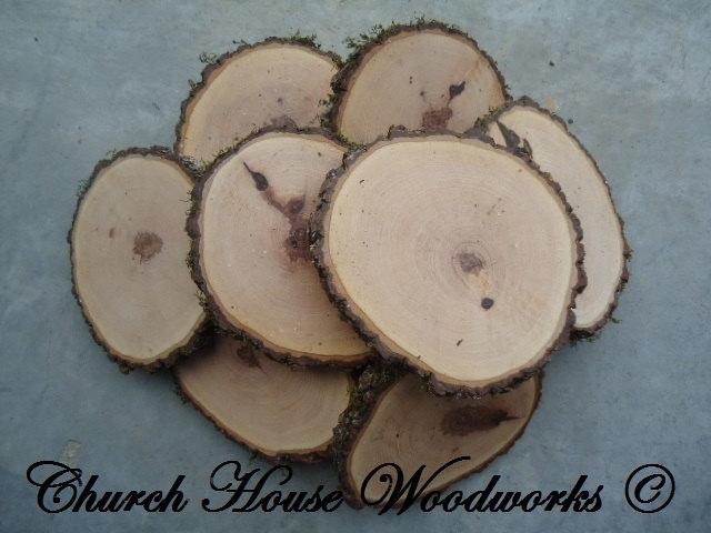 "Hochzeit - 10 qty  4"" wood slices, rustic coasters, tree coasters, decoration,  rustic weddings, rustic wedding coasters"""