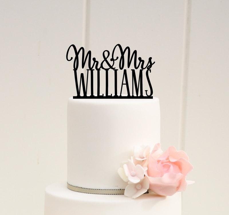 Hochzeit - Personalized Mr and Mrs Wedding Cake Topper with YOUR Last Name