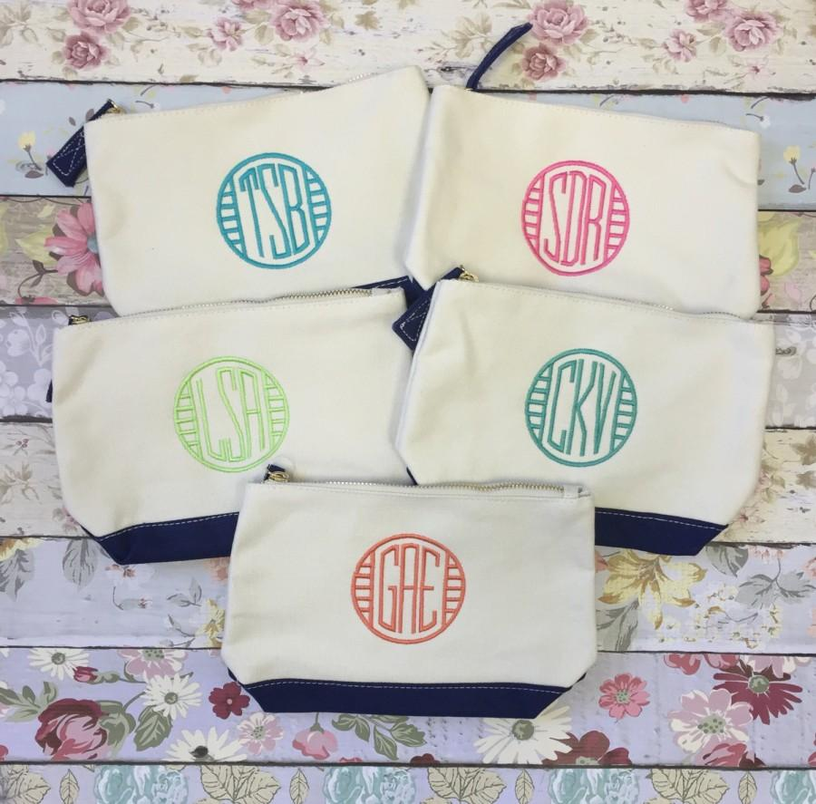 Five Bridesmaid Bags Make Up Monogrammed Bag Wedding Gifts Personalized Gif
