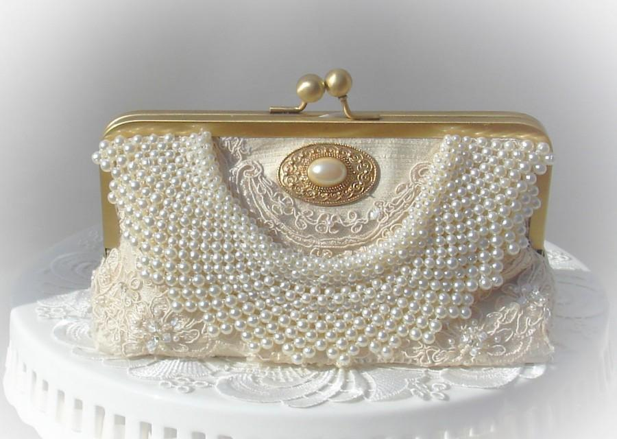 Elegant Wedding   Ivory Wedding Bag   Pearl Wedding Clutch   Prom Clutch    Romantic Wedding   Ivory handbag