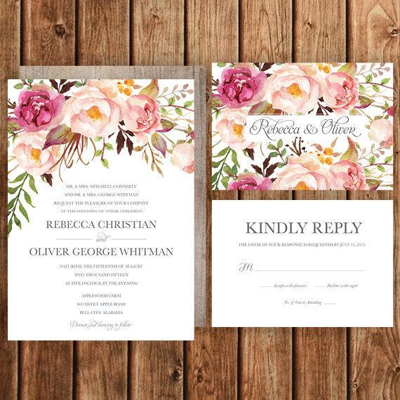زفاف - Rustic Wedding Invitation, Pink, Magenta, Blush, Roses, Floral, Spring Wedding, Fall Wedding, Woodland, Bohemian, Betty Lu Designs