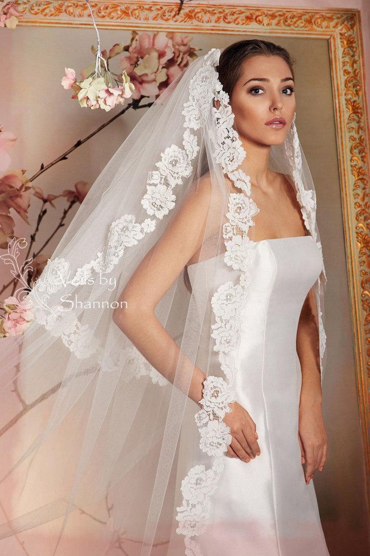 Mariage - 2 Tiers Cathedral Lace Veils+ Removable Blusher (elbow length,fingertip length,hip length for choice),Convertible Cathedral Lace Veils V7B
