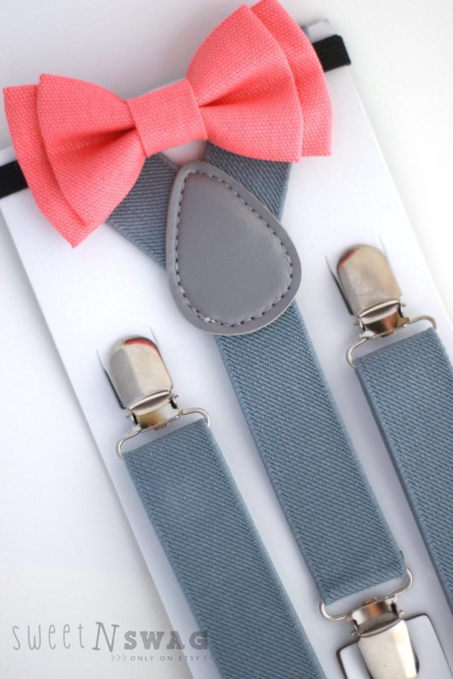Wedding - SUSPENDER & BOWTIE SET.  Light grey suspenders. Coral bow tie. Newborn - Adult sizes.