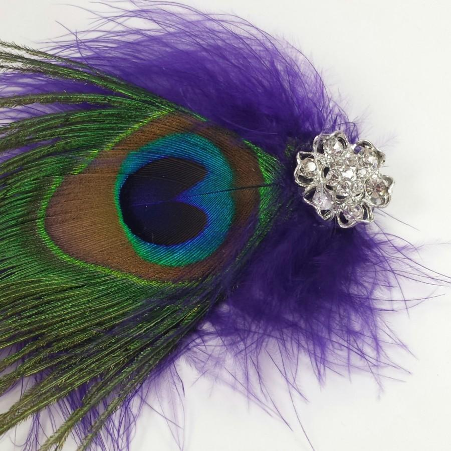 Mariage - flashy peacock feather and purple marabou fascinator, peacock eye feather hair accessory, purple rhinestone fascinator, glamour photo prop