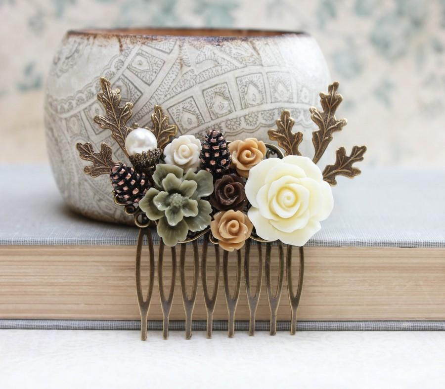 Mariage - Bridal Hair Comb Woodland Wedding Pearl Rustic Nature Inspired Branch Autumn Fall Pine cones Leaves Ivory Cream Roses Khaki Green Brown Rose
