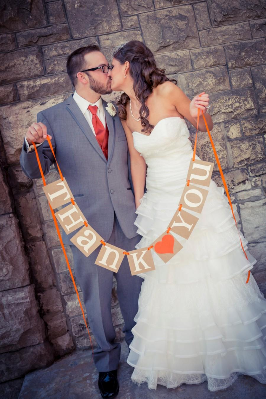 Mariage - Thank You Sign / Rustic Wedding Banner Photo Prop - Wedding Sign - Wedding Decoration