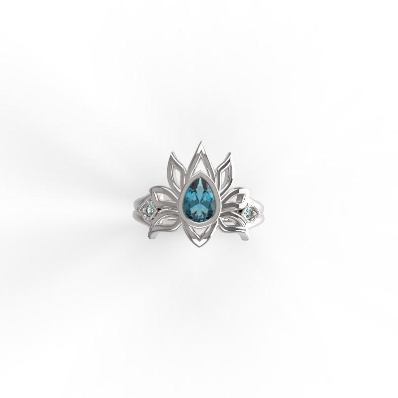 Hochzeit - Engagement ring ,Lotus flower ,gold engagement ring, gold engagement ring with gem stone , Engagement Ring  Blue topaz