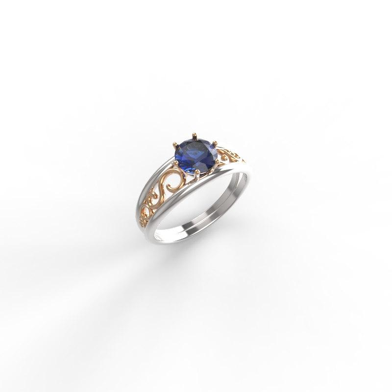 Hochzeit - 14kt Two tone Engagement ring,unique sapphire  ring , Two tone Engagement ring, Sapphire and gold engagement ring