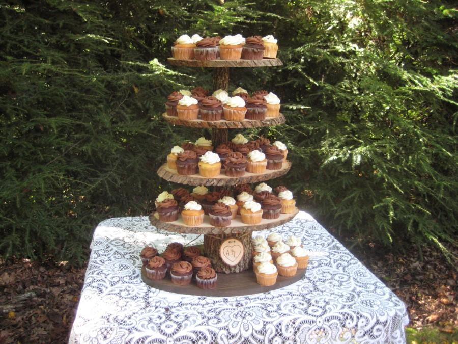 Mariage - Cupcake Stand Rustic Wedding Wood Dessert Bar 5 Tier X Large Personalized