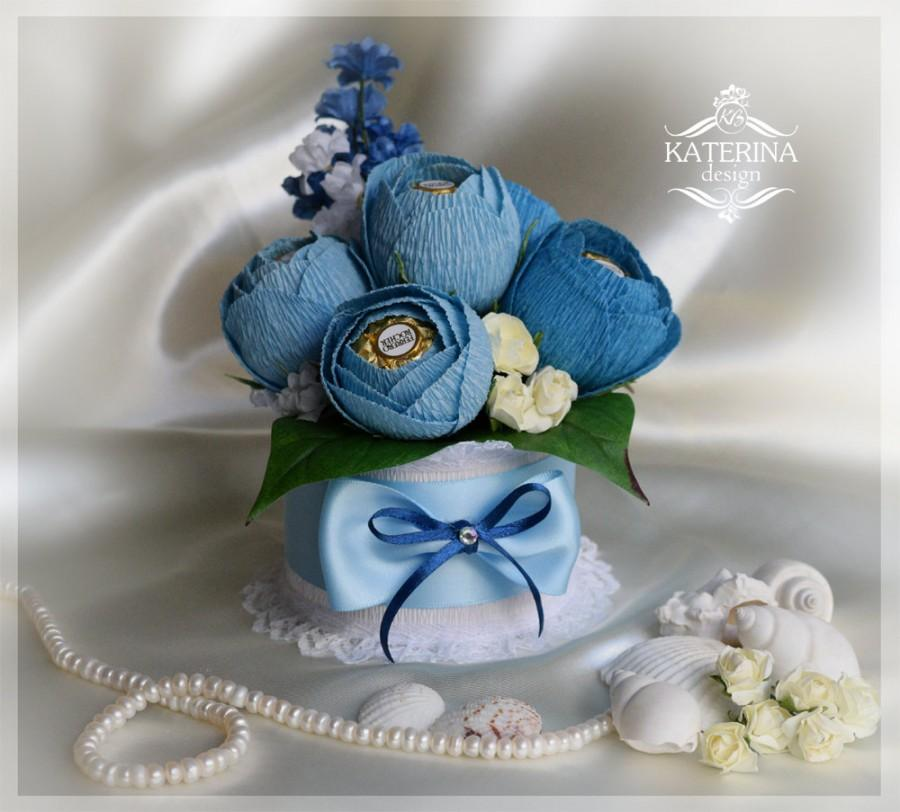 Blue Chocolate Bouquet, Ferrero Rocher Inside Of The Flowers, Sweet ...